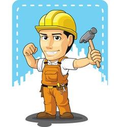cartoon of industrial construction worker vector image