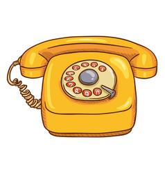 Cartoon yellow retro style rotary phone vector