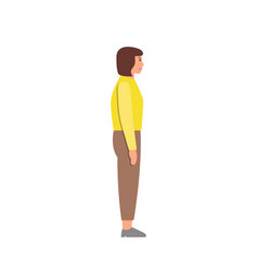 Casual woman character side view vector