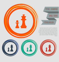 Chess icon on the red blue green orange buttons vector