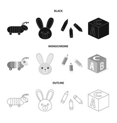 Children toy blackmonochromeoutline icons in set vector