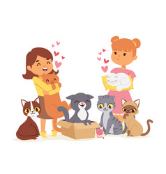 Children with pets adopt friendship concept vector