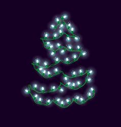 Christmas light abstract tree vector