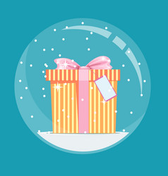 Christmas snow globe with a gift inside in flat vector