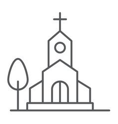 Church thin line icon religion and building vector