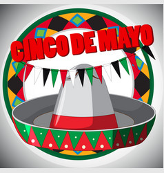 Cinco de mayo card template with hat and flags vector