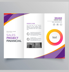 Creative trifold brochure template with purple vector