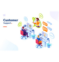 Customer service phone support office with people vector