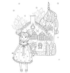 Cute girl in fairy cartoon town doodle vector