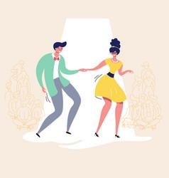 dancing couple retro dance contest swing dancers vector image