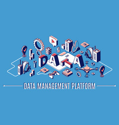 data management platform dmp isometric banner vector image