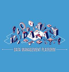 Data management platform dmp isometric banner vector