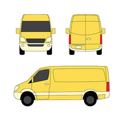 Delivery van yellow three sides vector image