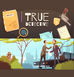 Detective story banners set vector