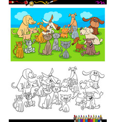 dogs and cats characters coloring book vector image