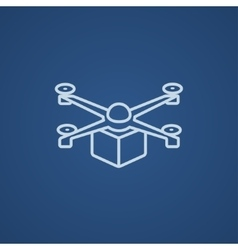 Drone delivering package line icon vector image