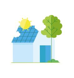 ecology renewable environment house solar panel vector image