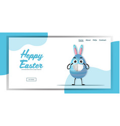 egg with rabbit ears wearing medical mask happy vector image