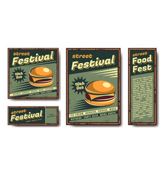 fast food retro poster vector image