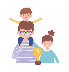 Father son and daughter with trophy on fathers day vector