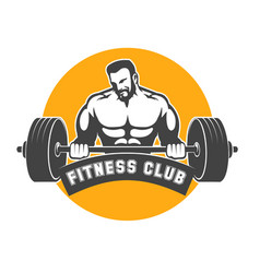 fitness or athletic club emblem with bodybuilder vector image