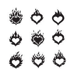 flame hearts icons vector image