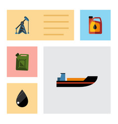 flat icon petrol set of fuel canister boat vector image