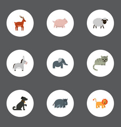 Flat icons swine hound moose and other vector