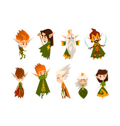 Forest elves set fairytale magic characters in vector