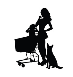 Girl with baby and animal silhouette vector