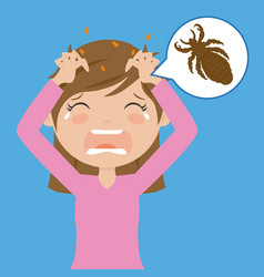 girl with head lice vector image