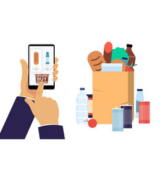 hand holding smartphone with shopping app flat vector image