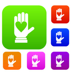 hand with heart set collection vector image