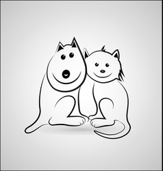 Happy dog and cat cartoon icon vector