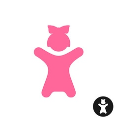 happy little girl icon pink kid silhouette vector image