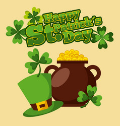 happy st patricks day cauldron golden coins hat vector image