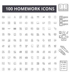 Homework line icons signs set outline vector