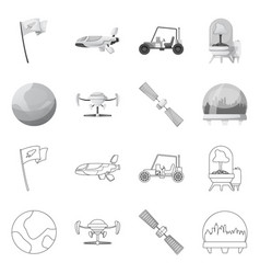 Isolated object of mars and space logo collection vector