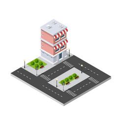 isometric 3d shop market vector image