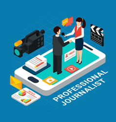 isometric professional journalist composition vector image