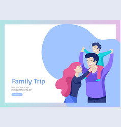 Landing page templates happy family travel and vector