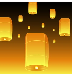Loy Krathong and sky lanterns vector