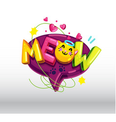 meow cat inscription vector image