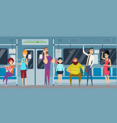 metro passenger people in urban subway train vector image