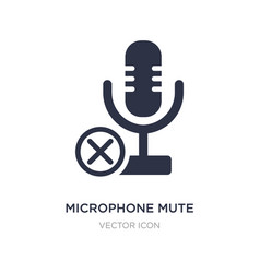Microphone mute icon on white background simple vector