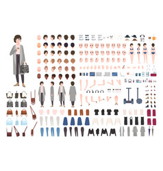 Modern young woman or yuppie animation kit vector