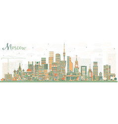 Moscow russia skyline with color buildings vector