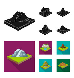 Mountains rocks and landscape relief and vector