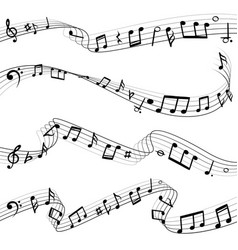 music notes flowing musical note key composition vector image