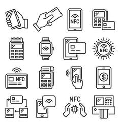 nfc mobile phone payment and terminal icons set vector image